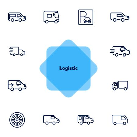 Logistic line icon set. Set of line icons on white background. Truck, trailer, parking. Transportation concept. Vector illustration can be used for topics like transport, car, auto service