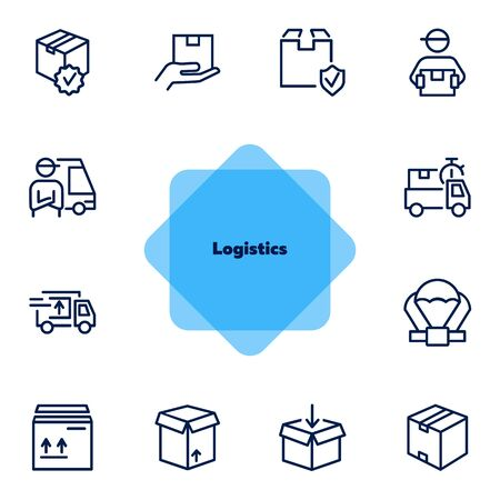 Logistics icon. Set of line icons on white background. Package, express delivery, courier. Delivery concept. Vector illustration can be used for topics like service, freight, business