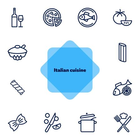 Italian cuisine line icon set. Wine, pizza, salmon. Food concept. Can be used for topics like healthy diet, restaurant menu, dinner, cooking