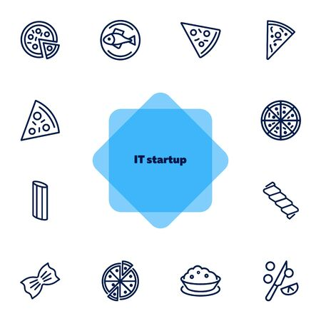 Italian cuisine line icon set. Set of line icons on white background. Food concept. Pizza, spaghetti, fish. Vector illustration can be used for topics like restaurant, Italy, eating, cooking