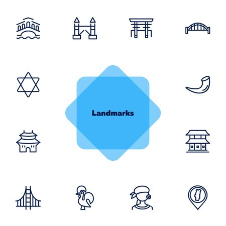Landmarks line icon set. Venice, tower bridge, Japan. Travel concept. Can be used for topics like tourism, vacation, architecture, adventure 일러스트