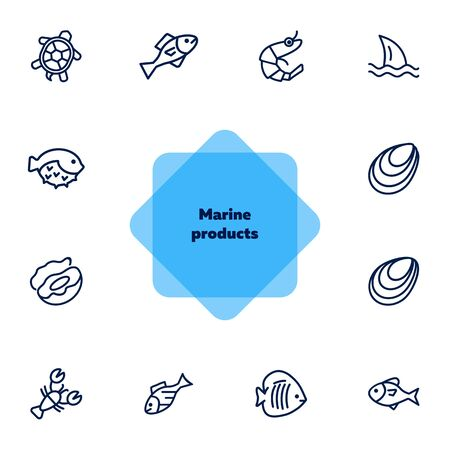 Marine products icon set. Seafood concept. Vector illustration can be used for topics like seafood, cuisine, cooking Illusztráció
