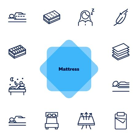 Mattress icon set. Line icons collection on white background. Customer, bed, comfort. Orthopedic furniture concept. Can be used for topics like bedroom, sleep, guarantee 向量圖像