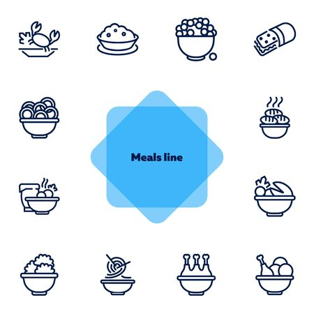 Meals line icon set. Bowl, chicken, Chinese noodle. Food concept. Can be used for topics like cooking, restaurant, dinner