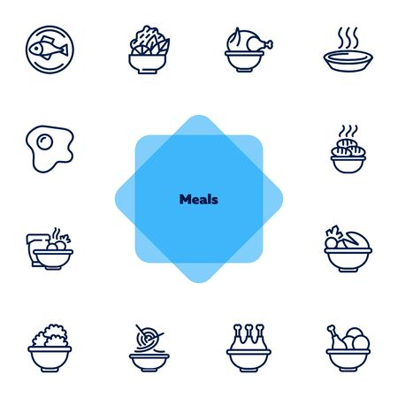Meals line icons. Set of line icons on white background. Cooking concept. Salad, fish, chicken. Vector illustration can be used for topics like kitchen, cooking, restaurants Stock Illustratie