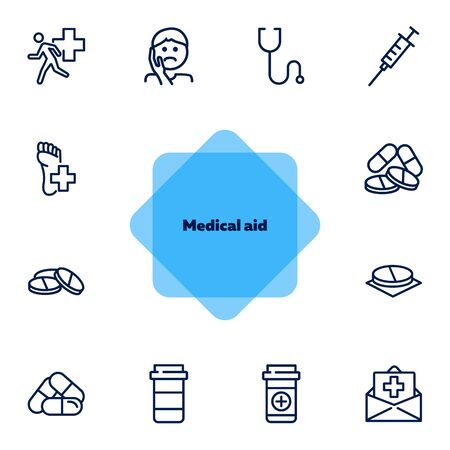 Medical aid line icon set. Stethoscope, syringe, pills. Medicine concept. Can be used for topics like medication, treatment, emergency Ilustração