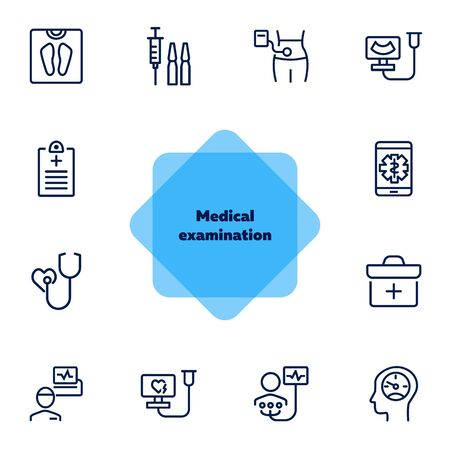 Medical examination line icon set. Screening, heart test, weight. Healthcare concept. Can be used for topics like hospital, medical consulting, disease prevention Ilustração