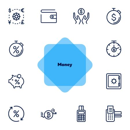 Money line icon set. Purse, safe, pos-terminal. Finance concept. Can be used for topics like currency exchange, saving, investment, payment Иллюстрация