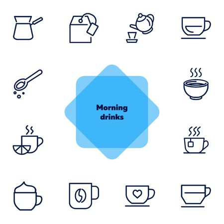 Morning drinks line icon set. Tea, pot, cup, espresso. Hot drink concept. Can be used for topics like coffee shop, menu, breakfast
