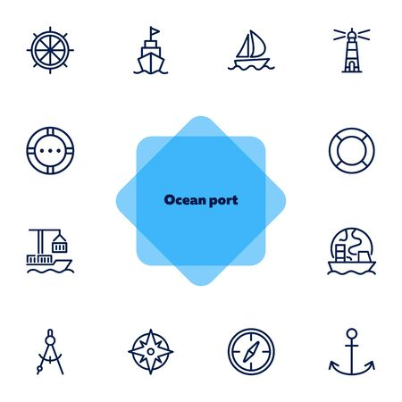 Ocean port line icon set. Boat, ship, lighthouse, compass. Marine concept. Can be used for topics like nautical navigation, sailing, ship Stockfoto - 131058633