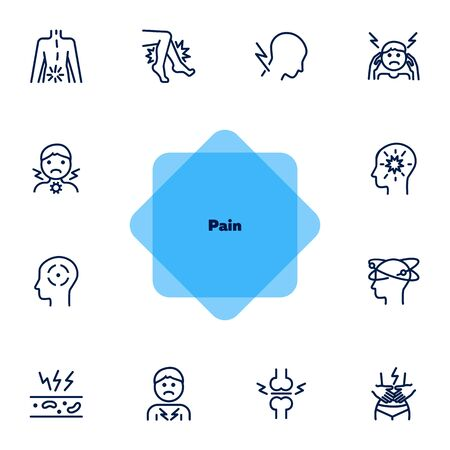 Pain line icon set. Headache, sore throat, stomach ache. Health care concept. Can be used for topics like illness, disease, symptoms