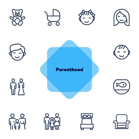 Parenthood line icon set. Boy, girl, couple, parents. People concept. Can be used for topics like family, children, home Vectores