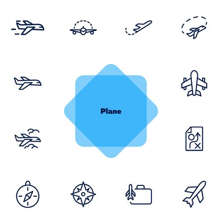 Plane line icon set. Jet, aircraft, flight. Travel concept. Can be used for topics like transport, trip, journey  イラスト・ベクター素材
