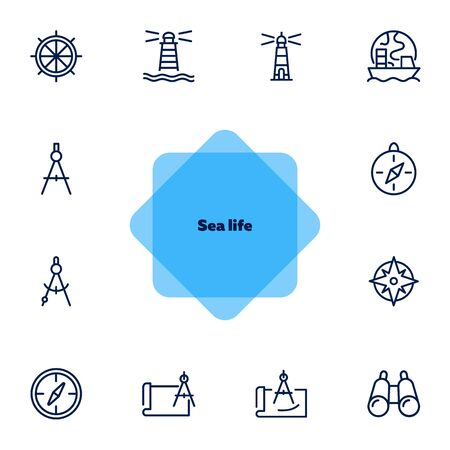 Sea navigation line icon set. Set of line icons on white background. Lighthouse, steering wheel, ship. Travel concept. Vector illustration can be used for topics like sea trip, tourism, cruise Ilustracja