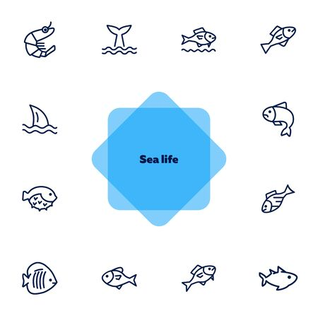 Sea products icon set. Seaanimal concept. Vector illustration can be used for topics like seafood, cuisine, cooking