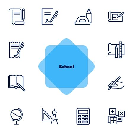 School icons. Set of line icons on white background. Writing, textbook, geometry, geography. Studying concept. Vector illustration can be used for topics like education, learning, stationary