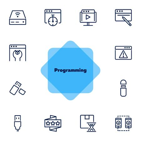 Programming line icon set. Video content, wrench, browser, USB flash drive. Information technology concept. Can be used for topics like app development, installing software, coding