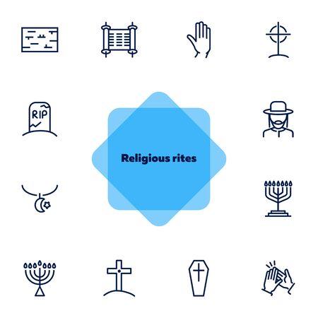 Religious rites line icon set. Cemetery, menorah, rabbi. Religion concept. Can be used for topics like church, funeral, Archivio Fotografico - 131059083