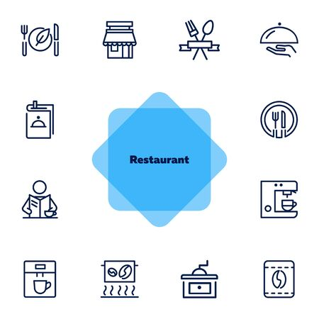Restaurant icons. Set of line icons on white background. Menu, coffee maker, course, client. Cafe concept. Vector illustration can be used for topics like food, catering, service Ilustração