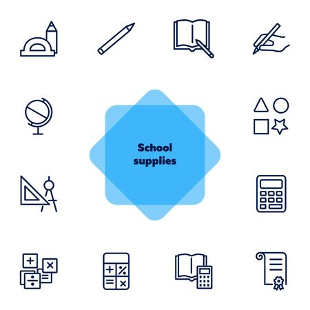 School supplies line icon set. Ruler, calculator, globe, copybook. Education concept. Can be used for topics like studying, learning, geometry, drawing Foto de archivo - 131059096