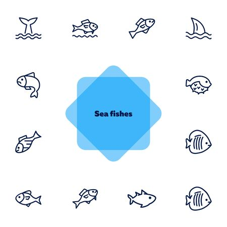 Sea fishes icon set. Seaanimal concept. Vector illustration can be used for topics like seafood, cuisine, cooking Illusztráció