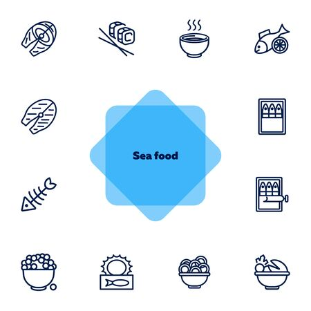 Sea food line icon set. Set of line icons on white background. Bowl, fish, sardines. Food concept. Vector illustration can be used for topics like eating, cooling, resting