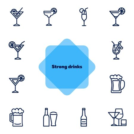 Strong drinks icons. Set of line icons on white background. Beer bottle, martini, margarita cocktail. Alcohol concept. Vector illustration can be used for topic like drinks, bar, menu Иллюстрация