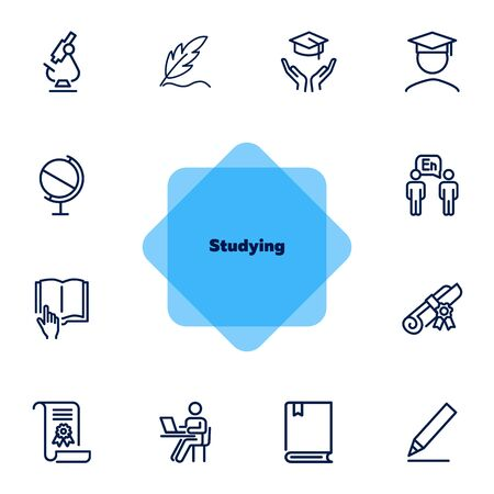 Studying line icon set. Microscope, graduation hat, book, diploma. Education concept. Can be used for topics like school, college, university, learning