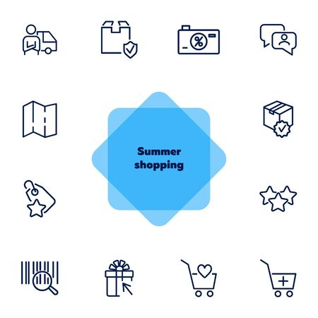 Summer shopping icon set. Online store concept. Vector illustration can be used for topics like marketing, delivery service, internet shopping Ilustracja