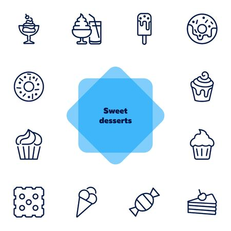 Sweet desserts line icon set. Set of line icons on white background. Candy, cake, doughnut. Vector illustration can be used for topics like confectionary, pastry, dessert