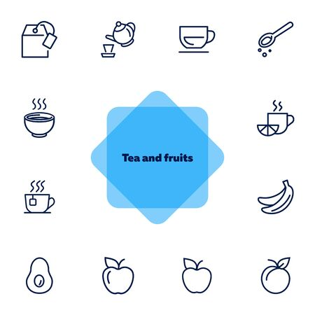 Tea and fruits icons. Set of line icons on white background. Tea, cup, lemon, apple. Food concept. Vector illustration can be used for topics like food market, grocery store