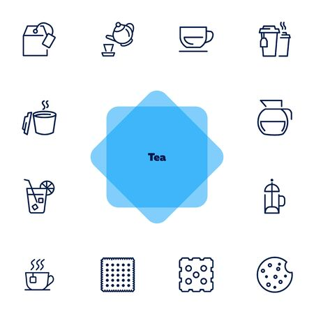 Tea line icon set. Teabag, cup, pot. Drink concept. Can be used for topics like hot drink, ice tea, cafe menu Ilustrace