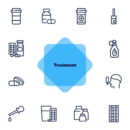 Treatment line icon set. Medical bottle, pills, drops, inhaler. Medicine concept. Can be used for topics like therapy, cure, illness, flu Stock Illustratie