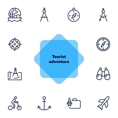 Tourist adventure icon set. Travel concept. Vector illustration can be used for topics like cruise, journey, holiday
