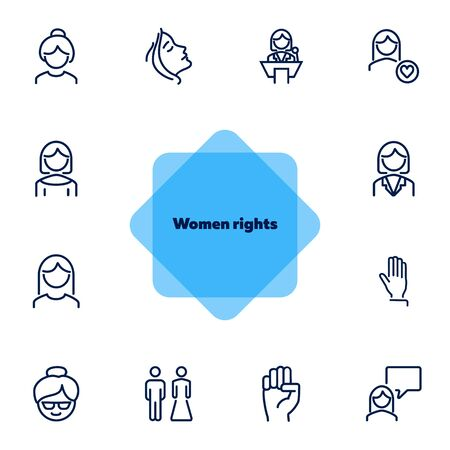 Women rights line icon set. Girl, woman, pair. Sociality concept. Vector illustration can be used for topics like human rights, social, girl power Illustration