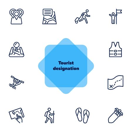 Tourist designation icon set.Travel concept. Vector illustration can be used for topics like cruise, journey, holiday
