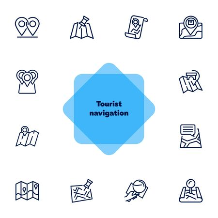 Tourist navigation icon set. Travel concept. Vector illustration can be used for topics like cruise, journey, holiday Çizim