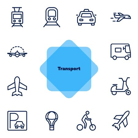 Transport line icon set. Set of line icons on white background. Airplane, bicycle, car. Travel concept. Vector illustration can be used for topics like tourism, active lifestyle