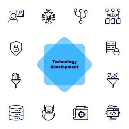 Technology development line icon set. Computer service, bot, database. IT concept. Can be used for topics like information technology, robotic science, big data