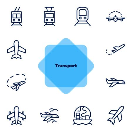 Transport line icon set. Vehicle, subway, train, plane, ship. Transportation concept. Can be used for topics like delivery, shipment, travel, tourism
