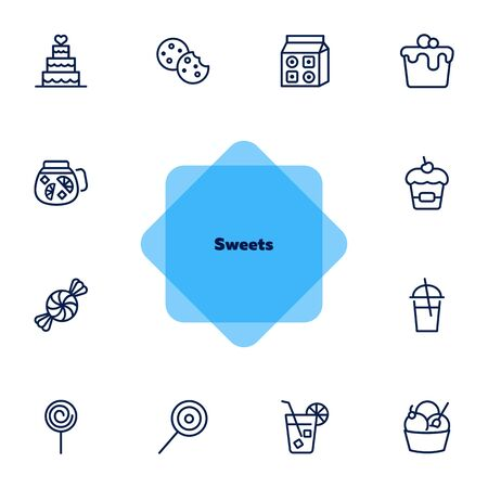 Sweets line icon set. Set of line icons on white background. Cupcake, caramel, lemonade. Food concept. Vector illustration can be used for topics like confectionery, sweet shop, bakery