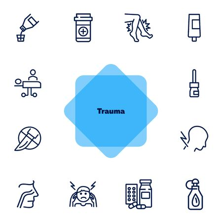 Trauma line icon set. Set of line icons on white background. Healthcare concept. Drug product, pain, surgery. Vector illustration can be used for topics like medicine, health, treatment