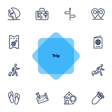 Trip line icon set. Tourist, luggage, flight ticket. Vacation concept. Can be used for topics like tour, journey, travel, summer