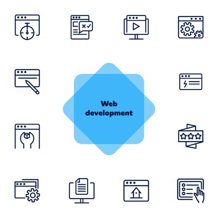Web development icons. Set of line icons on white background. Homepage, setting folder, webinar. Computer using concept. Vector illustration can be used for topic like internet, technology, web design  イラスト・ベクター素材