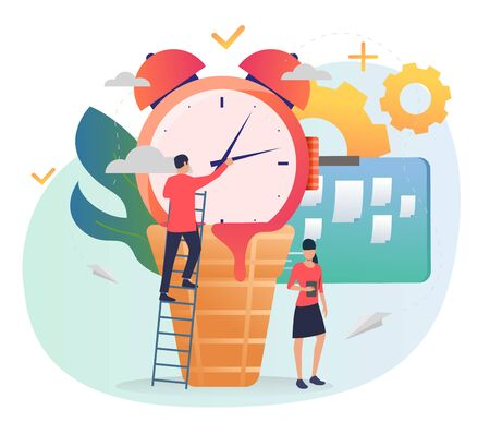 Man setting alarm clock. Standing on ladder, note board, gears. Time management concept. Vector illustration for posters, presentation slides, landing pages