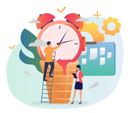 Man standing on ladder and repairing alarm clock hands. Woman taking notes, note board, gears. Time management concept. Vector illustration for posters, presentation slides, landing pages