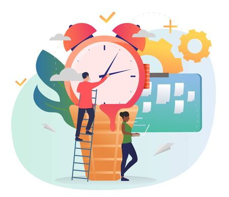 Man standing on ladder and setting alarm clock. Woman using laptop, note board, gears. Time management concept. Vector illustration for posters, presentation slides, landing pages