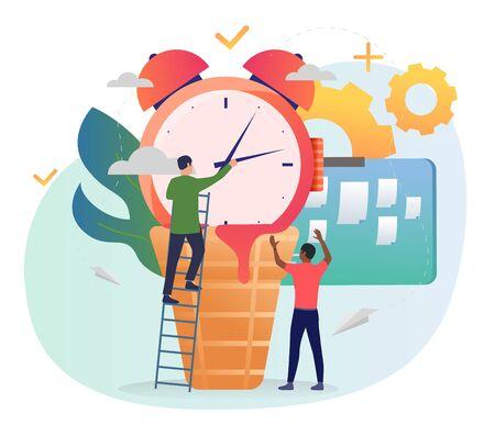 Men moving alarm clock hands. Standing on ladder, note board, gears. Time management concept. Vector illustration for posters, presentation slides, landing pages