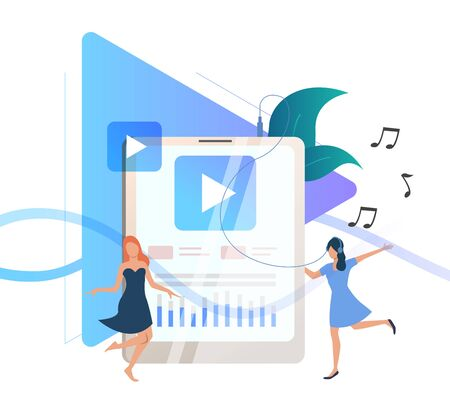 Women listening to music on portable player and dancing. Headphone, media content, party. Technology concept. Vector illustration for advertising, poster, website design