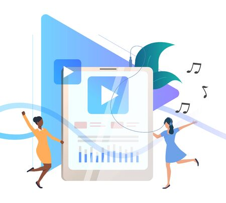 Cartoon women listening to music on portable player. Dancing users, headphone, media content. Technology concept. Vector illustration for advertising, poster, website design